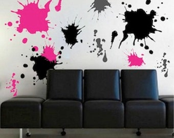 Ink splash wall decals, teenagers wall stickers, removable wall art, cool decals for kids - wall art shape decals - colorful wall decal, d21