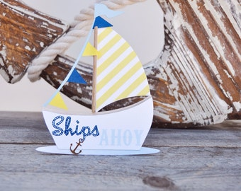 Nautical boat tent cards/treat label