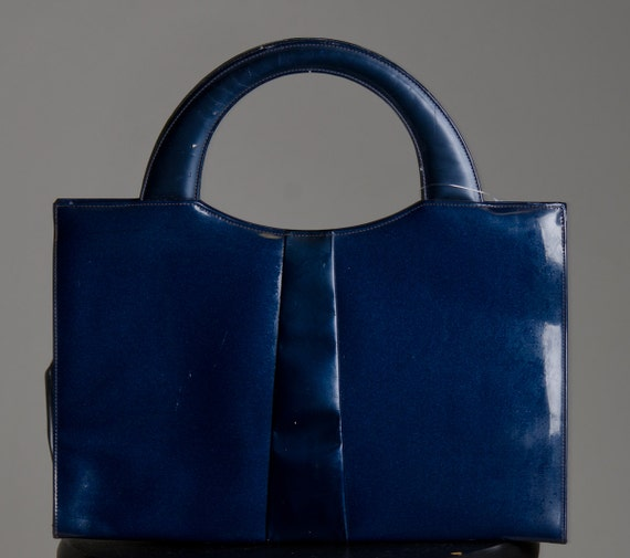 Vintage Blue Patent Leather Navy Blue Handbag FREE SHIPPING