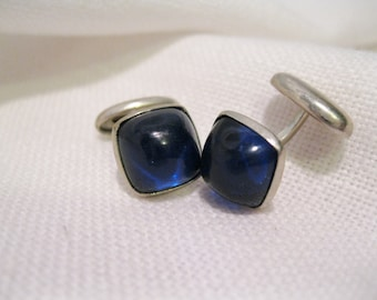 Art Deco Silver Cufflinks With Blue Glass or Paste Stones