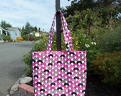 Funky Pink, Grey, Black & White Design on Women's Tote Bag