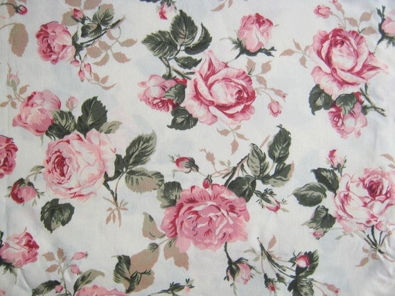 Vintage Rose Cotton Fabric White Fabric Pink Rose By