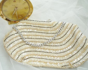 Small Bead and Sequin Handbag Bridal/Special Event Made by Jill Empress 1970 Japan