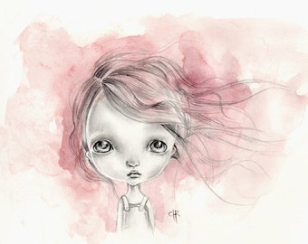 Original painting mixed media on paper...OOAK ''Lolita''