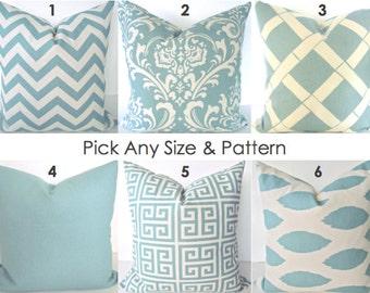 PILLOWS Blue Decorative Throw Pillows Blue Chevron Pillow Covers .All Sizes. 14x14 16x16 18x18 20x20 Home Decor Bedding Say it with pillows