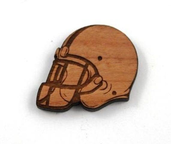 Laser Cut Supplies-1 Piece.Football Helmet Charms-Cherry Wood Laser Cut Football-Brooch Supplies- Little Laser Lab Sustainable Wood Products