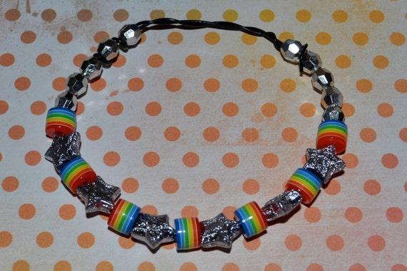 SALE Rainbows, Stars, Silver Beads Black Wire Adjustable Fit Bracelet Necklace Anklet Versatile
