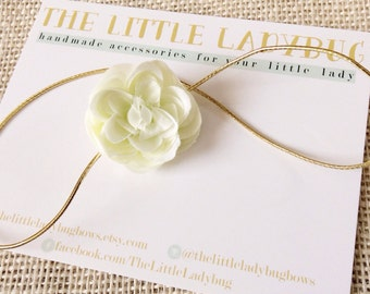 Pale Mint Ranunculus Flower Headband on Thin Gold Elastic, Simple, Photo Prop, Baby, Toddler, Girl, SPRING