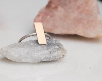 Minimal mixed metal rectangle ring