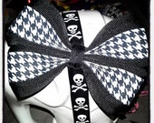 Punk Flower: Black & White w/ Houndstooth Pattern 4 Point Hair Bow