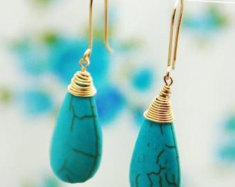 Turquoise earrings, drop gold earrings, LONG earrings, dangle earrings, stone earrings, wedding, bridesmaid earrings, wire wrapped earrings