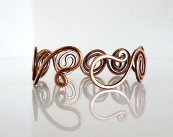 Copper wire bracelet cuff, Friendly Oxidized, Wire Metalwork, Hand crafted cuff for wrist