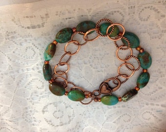 Turquoise  and Copper Metal Chain Double Bracelet
