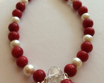 Red and Pearl Beaded Bracelet