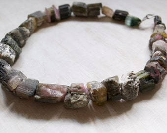 Vintage Tourmaline Rough Large Nugget Bead Necklace. Rough Cut  Organic Gemstone Beads OOAK