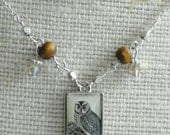 Silver plated Owl charm Woodland motif Necklace
