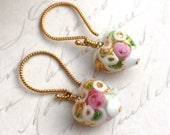 Stunning white and gold Venetian 13mm puffed hearts exquisitely decorated on 14kt gold filled wires