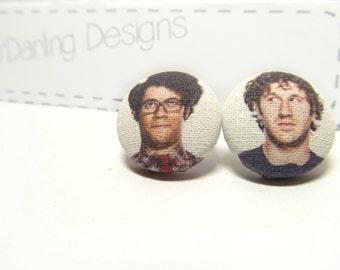 IT Crowd Moss & Roy Fabric Button Earrings