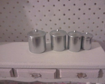 Silver kitchen canisters for dolls house