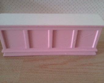 Dolls house kitchen work island counter in pink and white 1 12th scale kitchen