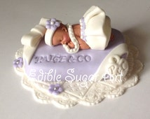 TIFFANY BABY SHOWER Purple Baby and company pearls and ruffles baby shower cake topper