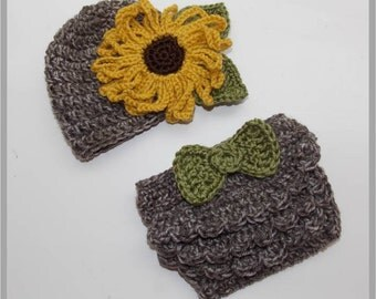 """Crocheted """"Sunflower Sweetie"""" Hat & Ruffled Diaper Cover Pattern ... Instant Download"""