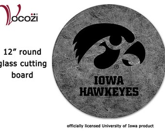 Iowa Hawkeye Round Glass Cutting Board  - Black and Gray