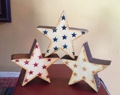 Handmade Americana Stars on Stars Primitive Wood set of Three