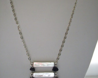Silver Rectangular Bar Long Chain Pendant Necklace with Black Stone Chips