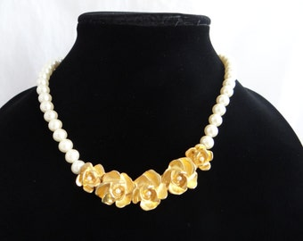 Beautiful Richelieu Faux Pearl Necklace with a Gold Tone Flower Detail and Faux Pearl Accents - Classic Elegance