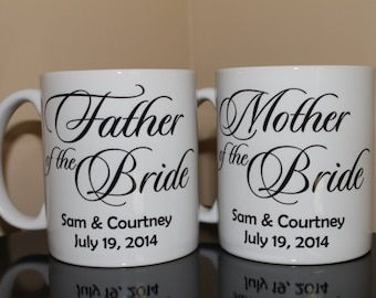 SET of 2 Personalized Mother of the Bride Gift Set, Father of the Bride, Wedding Party Gifts, Custom Wedding Gifts, (WP1))