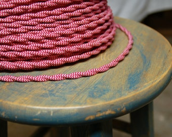 6 Feet: Cloth Covered Twisted Wire - Red/White Pattern, Vintage Style Fabric Lamp Cord, For Hanging Pendants, Trouble Lights etc
