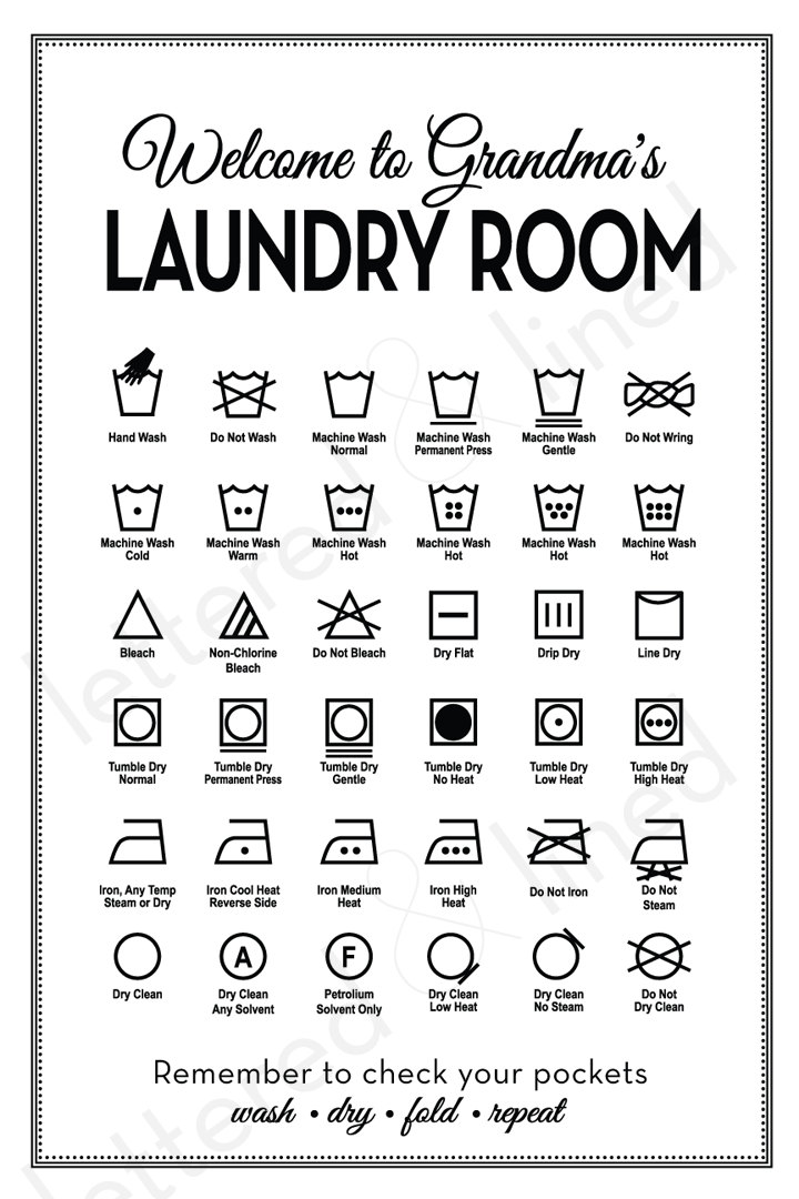 This is an image of Peaceful Laundry Symbols Printable
