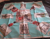 Souvenir nylon square scarf of London, landmarks of London, piccadily circus, St. Pauls Cathedral