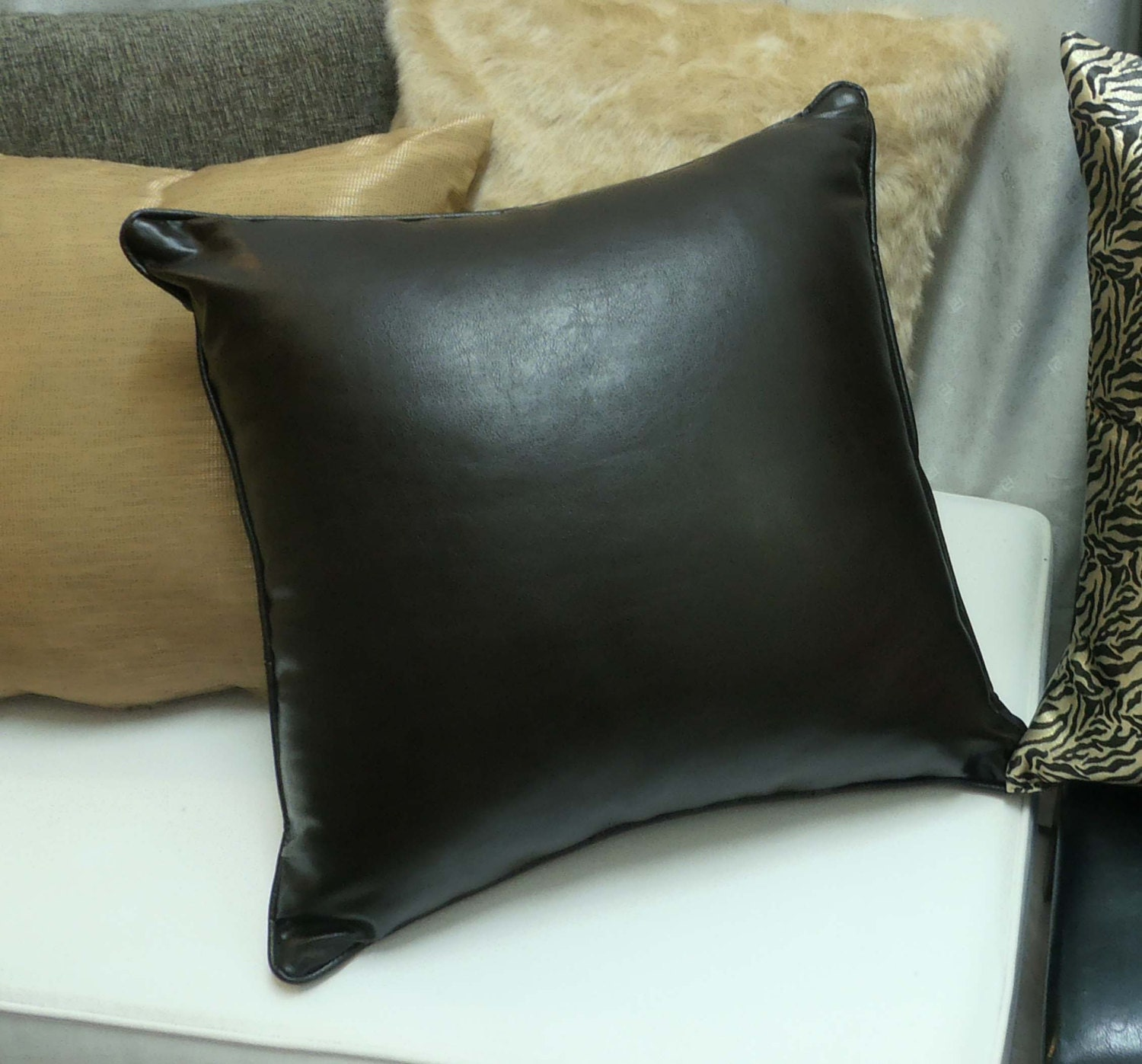 Dark Brown Throw Pillow : Faux leather Throw Pillow-Dark Brown Cushion by mypreciouspillow
