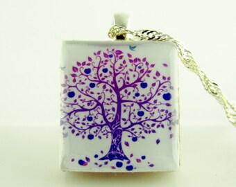 Purple Tree of life - Purple Flowering tree Scrabble Tile Pendant, Colorful purple tree pendant on Sterling Silver 925 bail & chain