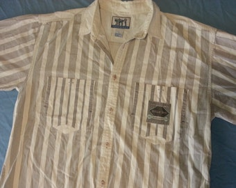 VINTAGE Bugle Boy Authentic Button Down Striped Short Sleeve LARGE