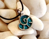 Blue Sea Shell Sterling Silver 925 Pendant With Leather Cord (also in ring,stud earrings)