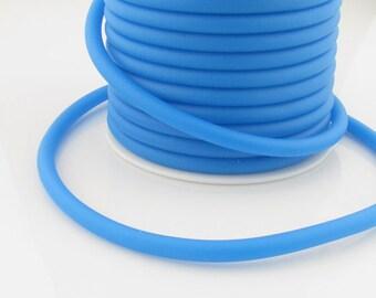 Silicone cord,dark sky blue, 5mm hollow, 3mm hole, 6 feet