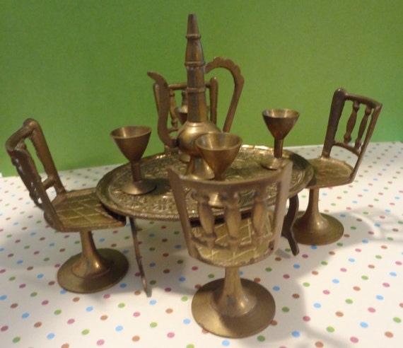 10 piece set brass table chairs wine goblet cruet by for 10 piece kitchen table set
