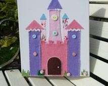 Princess Castle. Fairy Castle. Felt Castle. Felt Picture. Girls Canvas Picture. Princess Theme Room. Princess Decor. Fairy Decor.