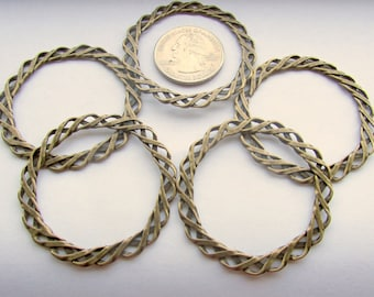Jewelry Supplies, Braided Circles, Charms, Antique Bronze