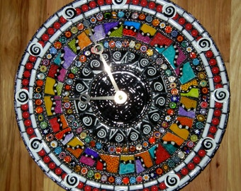 Razzle, Dazzle and Swirl Mosaic Clock