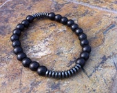Matte Black Mens Beaded Bracelet with Hematite Accent