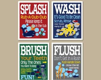 Childrens Kids Boys Bathroom Decor Art Prints Set Of (4) 5 X 7 OR