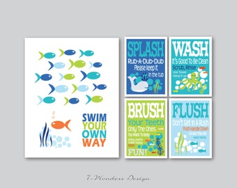 Kids Bathroom Art Prints - Swim Your Own Way, Splash, Wash, Brush, Flush Set of (5) - 11 x 14 and 5 x 7's // Childrens Kids Bathroom // Blue