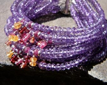 Amethyst Bracelet, Purple Bracelet, Red Spinel, Garnet Bracelet, Garnet Jewelry, Gemstone, Gemstone Jewelry, Gemstone Bracelet, Amethyst
