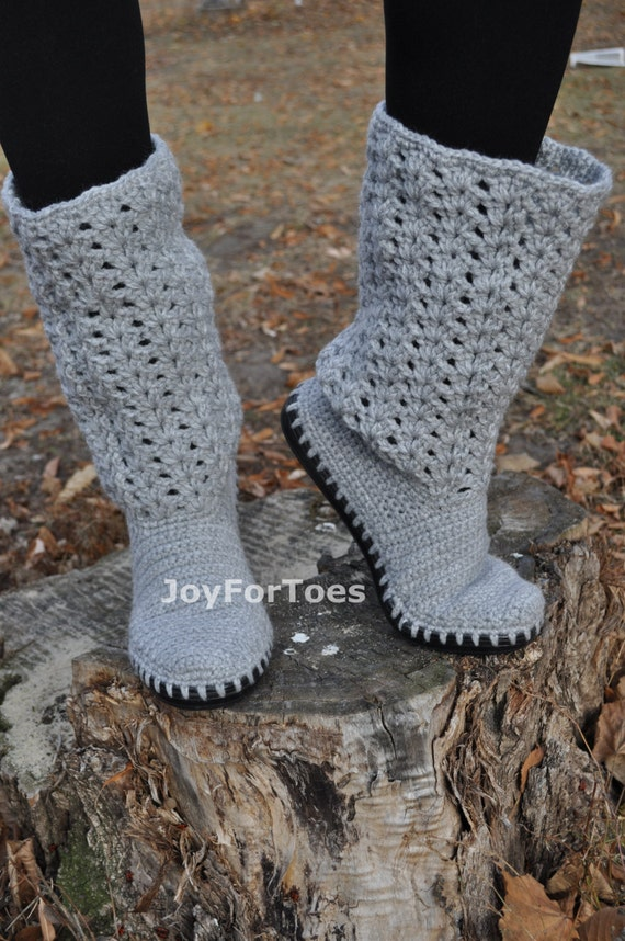 Crochet Boots Boho Style Laced Shoes Outdoor Boots Womans Grey Shoe Handmade to Order
