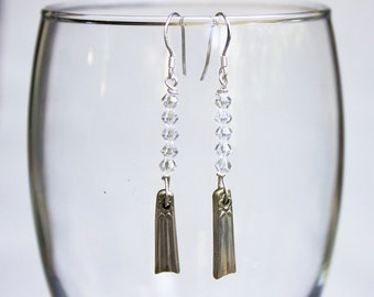 Vintage Silverware and Swarovski Crystal Earrings with Sterling Silver French Hooks