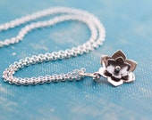 Layered flower, Sterling silver necklace, riveted,  Simple necklace